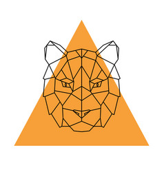 geometric head tiger wild animal vector image vector image