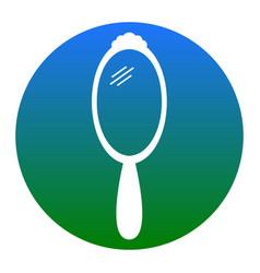 Hand mirror sign white icon in bluish vector