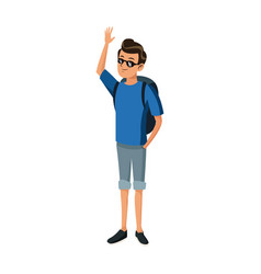 Happy young man with sunglasses traveler standing vector