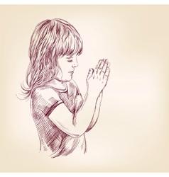 little girl praying hand drawn llustration vector image vector image