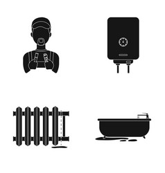 Plumber boiler and other equipmentplumbing set vector