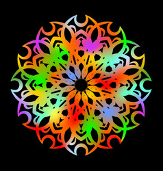psychedelic rainbow rosette on black background vector image vector image