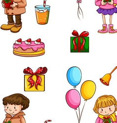 Seamless background with people and party objects vector