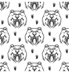 Seamless pattern with grizzly bear vector image vector image