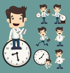 Set of businessman and clock vector