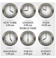 Set of colorful clock iconworld time concept vector image