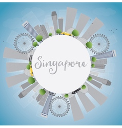Singapore skyline with grey landmarks vector
