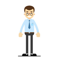 Smiling office clerk character in flat design vector