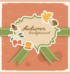 Square ribbon autumn background vector