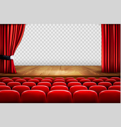 theater stage with wooden floor and open red vector image vector image