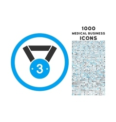 Third medal rounded icon with 1000 bonus icons vector