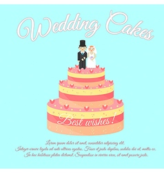 Wedding cakes best wishes vector