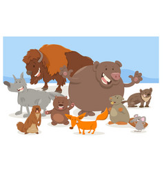 wild animal characters cartoon vector image