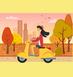 Woman driving scooter in autumn city park vector