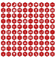 100 medical icons hexagon red vector
