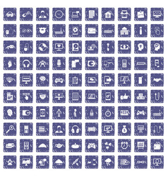 100 programmer icons set grunge sapphire vector image vector image