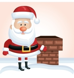 Cartoon santa claus xmas chimney snow design vector