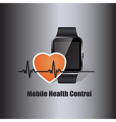 Smart watch with heart beat symbol vector