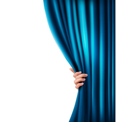 Background with woman hand with blue curtain vector