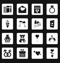 Saint valentine icons set squares vector