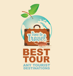 banner with suitcase and seashell on tourist theme vector image