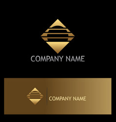 square round stripe gold logo vector image