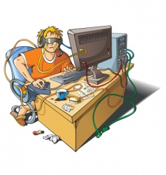 Computer addiction vector