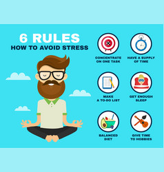 6 rules to avoid stress infographic vector image vector image