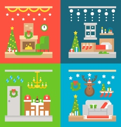 Christmas interior decoration flat design vector