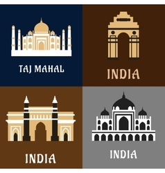 Indian historical and landmark flat icons vector