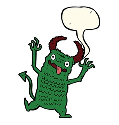 Cartoon demon with speech bubble vector