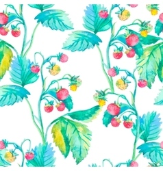 Strawberry pattern watercolor berries vector