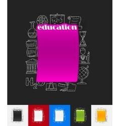 education paper sticker with hand drawn elements vector image