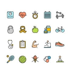 Health fitness icon color set vector