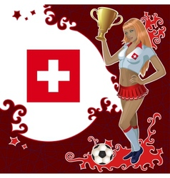 Football poster with girl and swiss flag vector