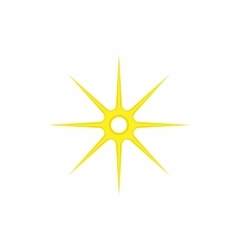 Gold eight pointed star icon cartoon style vector