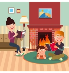 Father Reading Book to his Son near Fireplace vector image