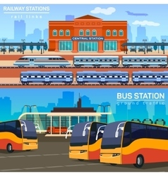 Rail network or link and bus station vector image
