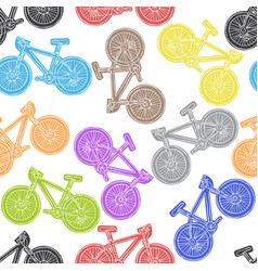 Bicycle seamless pattern freehand vector