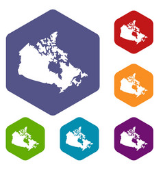 canada map icons set hexagon vector image vector image