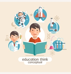 Education thinking concept Children holding books vector image vector image