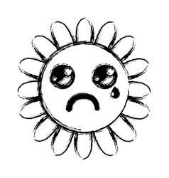 Figure kawaii crying flower with petal vector