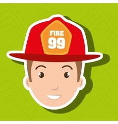 Firefighter man service fire vector