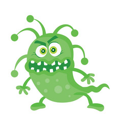 green bacteria cartoon character icon vector image vector image