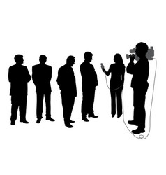 Interview with group of people with cameraman vector