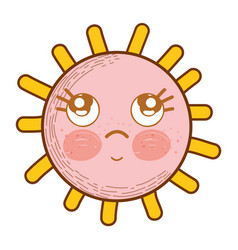 Kawaii sun thinking with eyes and cheeks vector