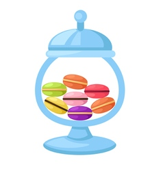 Macarons in a glass jar vector