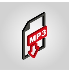mp3 icon 3D isometric file audio format symbol vector image vector image