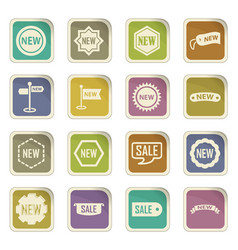 New stiker and label set icons vector