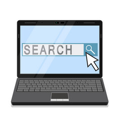 Notebook with search field on the screen vector